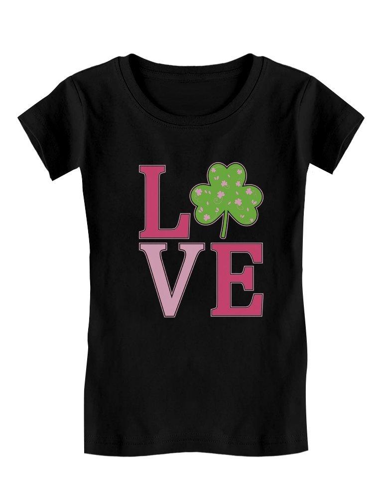 Irish Clover Love St. Patrick's Day Gift Cute Toddler/Kids Girls' Fitted T-Shirt 3T Black