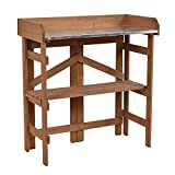 Adumly Metal Top Wooden Potting Bench Garden Planting Workstation Shelves Fine Decoration Of Garden