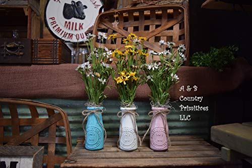 One (1) Customizable Distressed Milk Bottle Artifical Floral Arrangement, White, Teal, or Pink Farmhouse Style Decorative Jars ()