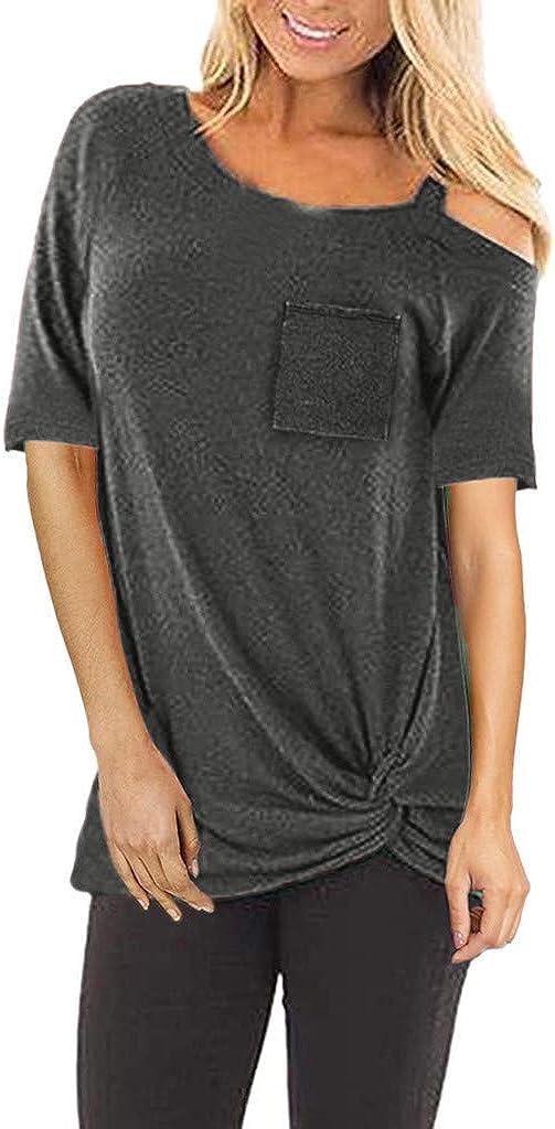 Kilopy Women Blouse Shirts Fashion Short Sleeve T-Shirt Off Shoulder Pure Color Knot Hem T-Shirt Tops Loose Pullover Blouse