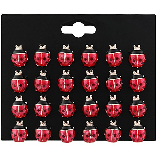 Kofun Earrings, 12 Pairs Cute Enamel Red Ladybug Stud Earrings Set Kids Jewelry Insect Jewelry Drop of Oil Seven-Star Ladybug Set