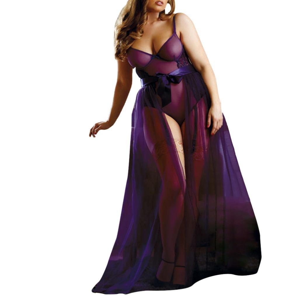 Letdown Plus Size Women Lace Leotard Skirt Jumpsuit Nightwear Lingerie Set Babydoll +Purple Apron