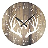 Antique Wood Clock for Bedroom Farmhouse White Numerals White Deer Antlers Nursery Wood Wall Clock for Bedroom Decor 12 Inch