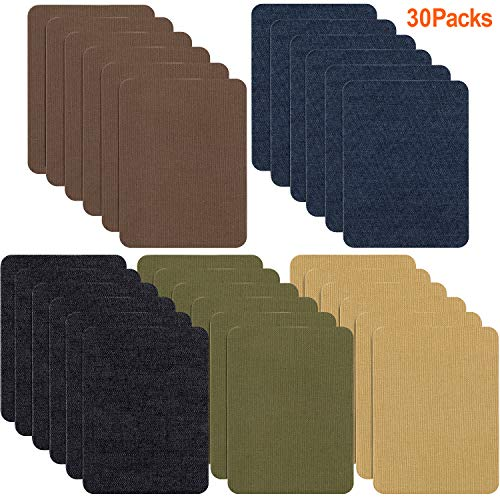 Iron On Patches for Clothing Jeans 30 PCS, Denim Repair Patches Kit 4.9 x 3.7 Inch, 5 Colors
