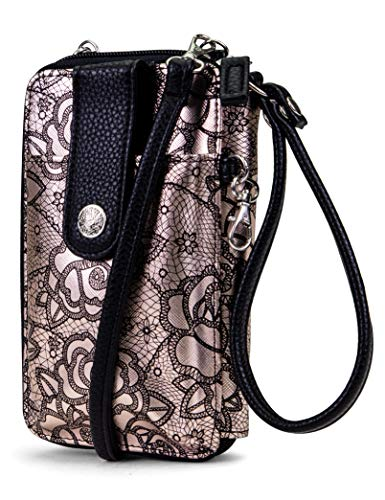 MUNDI Jacqui Vegan Leather RFID Womens Crossbody Cell Phone Purse Holder Wallet (Paris Print)