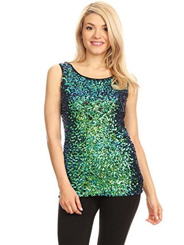 Anna-Kaci Womens Sparkle & Shine Glitter Sequin Embellished Sleeveless Round Neck Tank Top, Mermaid, -