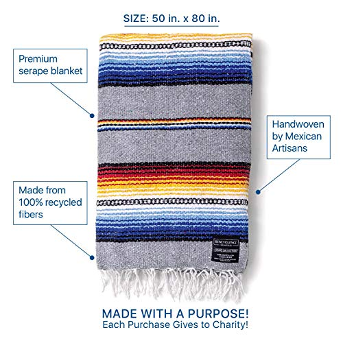 Authentic Hand Woven Falsa Blanket Car Blanket Mexican Blanket Premium Yoga Blanket Thick /& Soft Serape Perfect Beach Blanket Picnic Blanket Camping Blanket Made by Mexican Artisans