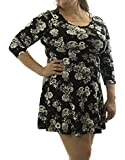 American Rag Women's Skater Black and White Floral Dress XL