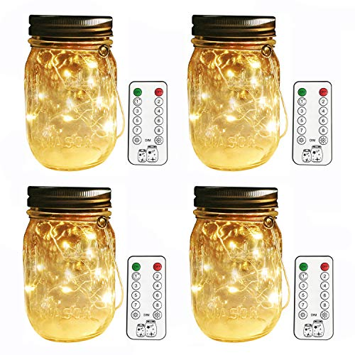 Aobik Remote Control Flicker Solar Mason Jar Lantern Lights,4 Pack 8 Modes Flash Fairy Firefly Led String Mason Jar Lights(Jars and Hangers Included),Outdoor Solar Lanterns,Hanging Table Lights]()