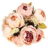 KINGSO 1 Bouquet Elegant Artificial Peony Silk Flowers Fake Leaf Home Wedding Party Decoration Light Pink