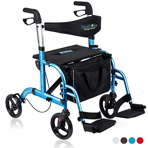 Health Line 2 in 1 Rollator-Transport Chair w/Paded Seatrest, Reversible Backrest and Detachable Footrests, Sky Blue (Duet Drive Walker)