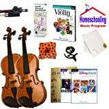 Homeschool Music - Learn the Violin Parent & Child Pack (Disney Book Bundle) - Includes Student 1/2 Violin & Full Size 4/4 Violin w/Case, DVD, Books & All Inclusive Learning Essentials