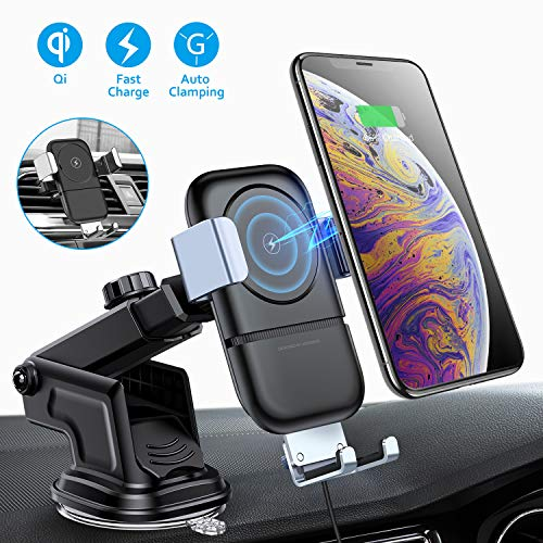(VANMASS Wireless Car Charger Mount, 10W Qi Car Charger Phone Holder of Automatic Clamping Gravity Sensor, Compatible with iPhone X/XR/8/8 Plus, Galaxy S8/8+, S9/9+, S10, Note8, Air Vent Clip Included)