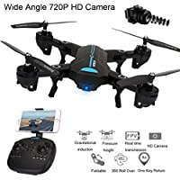 Fineser A6 Mini Foldable RC Quadcopter Drone with 720P 120° FOV HD Camera RTF 4 Channel 2.4GHz 6-Gyro with Headless Mode , Foldable Arms , Attitude hold Function and One Take-off/Landing