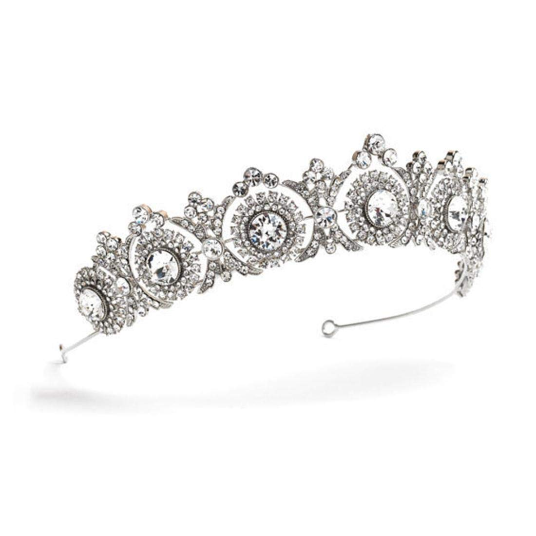 JIAJ Hair Rhinestone Crown Bridal Headwear Headband Princess Birthday Party Crown Bridal Jewelry (Color : Silver) by JIAJ