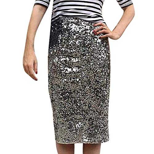 WOCACHI Womens Sequins Bodycon Skirt Pure Color Buttock Tight Fitting Cocktail Pencil Skirts Office Ladies Evening Party Clubwear Sexy 2019 Summer New Deals Sales]()