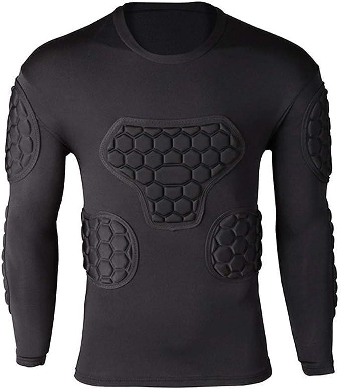 Camisa de compresión acolchada para hombre, camiseta protectora, protector de pecho de costilla, equipo de protección de baloncesto de fútbol, protectores de pecho, traje de entrenamiento ligero: Amazon.es: Deportes y aire libre