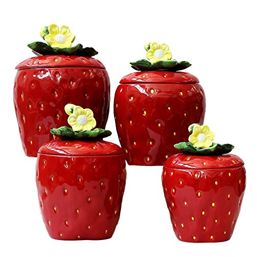 4 Piece Strawberry (3-D Strawberry 4-piece Canisters Set, 83501)