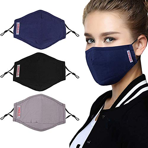 100% Cotton mask,Face Mask with 6 Activated Carbon Filter Inserts and Adjustable Shoulder Strap, Washable Reusable…
