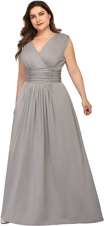 Vestido de Noche Cuello en V Talla Grande para Mujer