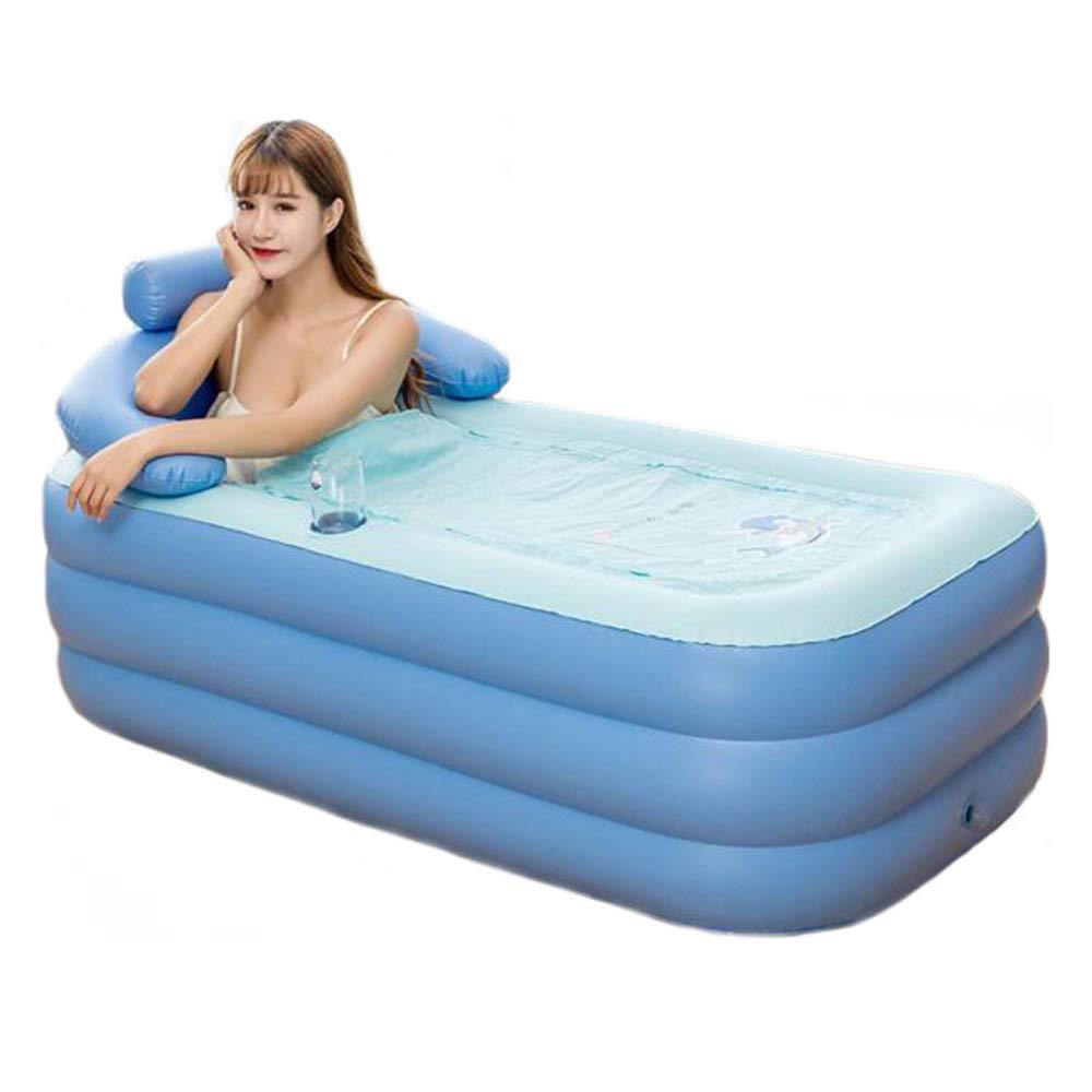 ZXDFG Adult Bathtub Inflatable PVC, Foldable Tub Insulation Portable Folding Bath Thickened Bath Tub, Bath Barrel Plastic (Multicolor),Blue1608464cm