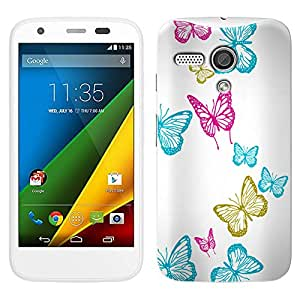 Skin Decal for Moto G - Vivaciuos Butterflies on White