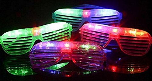 12 pieces Flashing LED Light up Slotted Shutter Sunglasses Shades Party Favors Bag Fillers - Shades Sunglasses Party