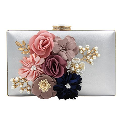 Wedding silver and Purses Bags Party Clutches Evening Flower 1 Womens naztAXOq