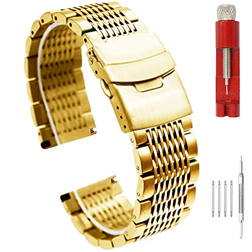 - Grafter Shiny Gold 22mm Watch Bands Stainless Steel Watch Bracelet for Men Women Mesh Metal Watch Strap Replacement