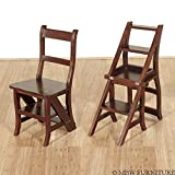 Benjamin Solid Mahogany Convertible Ladder Chair Library Step Stool