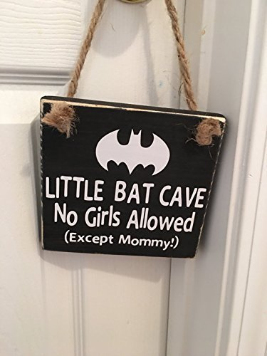 Little Bat Cave | No Girls Allowed | Except Mommy | Superhero | Door Sign
