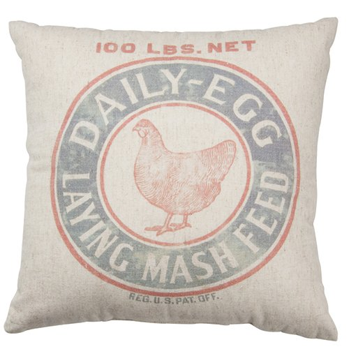 Primitives by Kathy Vintage Feed Sack Style Mash Throw Pillow, 16-Inch (Vintage Feed)