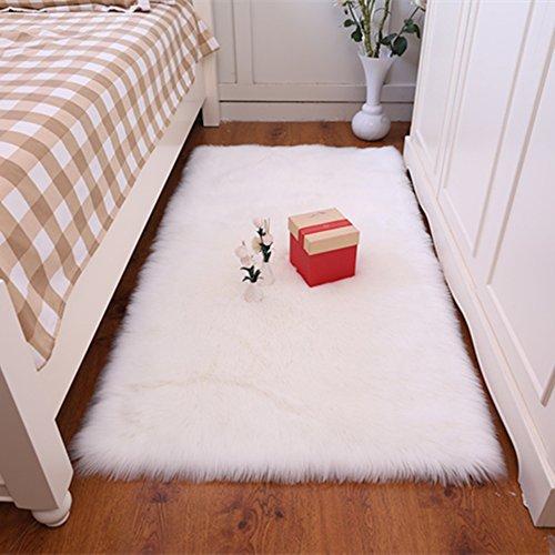 Noahas Luxury Fluffy Rugs Bedroom Furry Carpet Bedside Sheepskin Area Rugs Children Play Princess Room Decor Rug, 3ft x 5ft White
