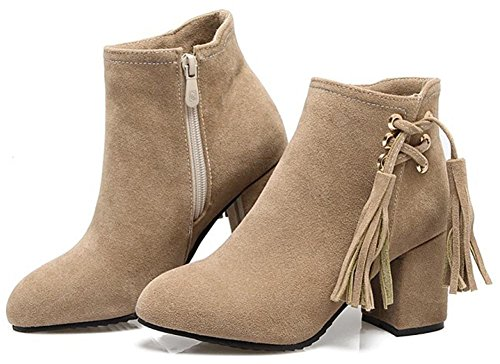Easemax Women's Faux Suede Round Toe Mid Block Heeled Ankle High Booties With Zippers Beige L6CtJZyF