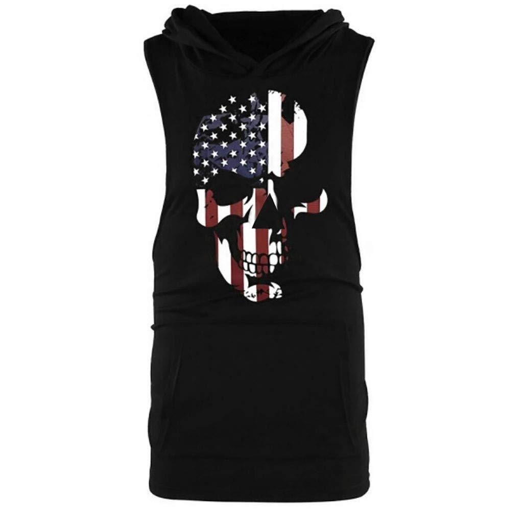 Mens American Flag Skull Print Muscle Hoodie Tank Tops Summer Stringer Bodybuilding Gym Workout Fitness Vest Tee