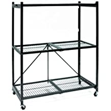 Origami R4-01W General Purpose 3-Shelf Steel Collapsable Storage Rack with Wheels, Medium