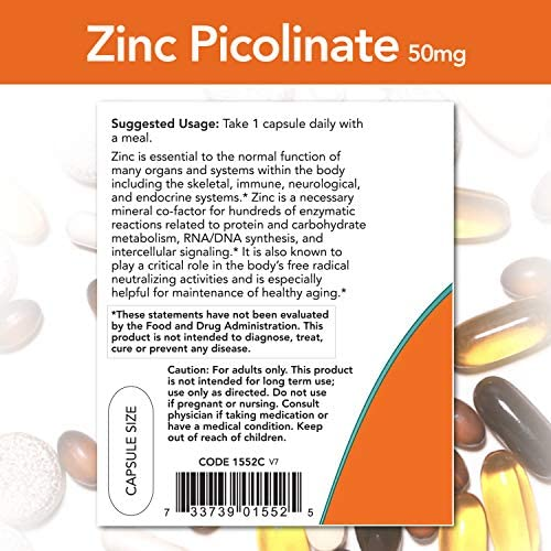 NOW Supplements, Zinc Picolinate 50 mg, Supports Enzyme Functions*, Immune Support*, 120 Veg Capsules 4