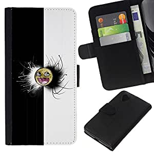 // PHONE CASE GIFT // Moda Estuche Funda de Cuero Billetera Tarjeta de crédito dinero bolsa Cubierta de proteccion Caso LG Nexus 5 D820 D821 / Black & White Awesome Face Meme /