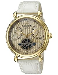Thomas Earnshaw Men's 'Grand Calendar' Automatic Stainless Steel and Leather Dress Watch, Color:Champagne (Model: ES-8046-07)