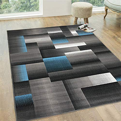 (Blue/Grey/Silver/Black/Abstract Area Rug Modern Contemporary Geometric Cube and Square Design Pattern Carpet)