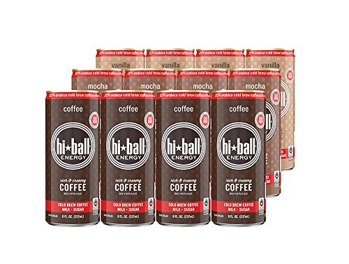 Hiball Energy Cold Brew Coffee Beverage,  Vanilla, Coffee, and Mocha, Variety Pack, 8 Ounce, 12 Count