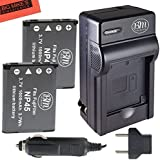 2 NP-45 Batteries And Battery Charger Kit For Fujifilm FinePix XP20 XP22 XP30 XP50 XP60 T350 T360 T400 T500 T510 T550 T560 JX500 JX520 JX550 JX580 JX590 JX700 JX710 JZ700 Digital Camera + More!!