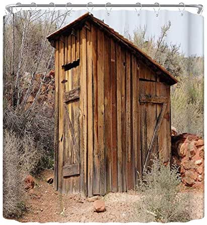 YOLIYANA Outhouse The Shower Curtain,Old Wooden Shed in The Outback Country Side with Olive Trees Utility Shower Curtain,78.7