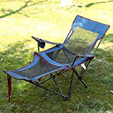 Folding Chair Outdoor Portable Folding Chair,Portable Quad Mesh Back with,Camping Chair Folding,Sitting and Lying (Color : Blue)