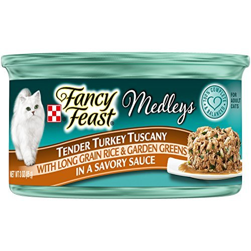 - Purina Fancy Feast Wet Cat Food, Elegant Medleys, Tender Turkey Tuscany with Long Grain Rice and Garden Greens in a Savory Sauce, 3-Ounce Can by Purina Fancy Feast