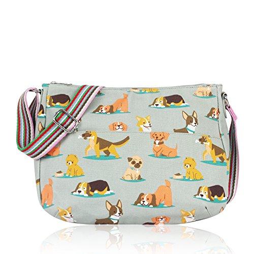 Womens Ladies Oilcloth Dogs Cross Body Messenger Bag Women Shoulder Tote Satchel Handbag Grey-AssortDogs