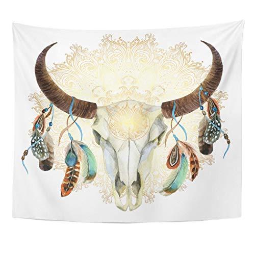 Tapiz de pared con diseño de bull acuarela de búfalo, calavera con plumas en mandala dorada, diseño de animales de estilo...