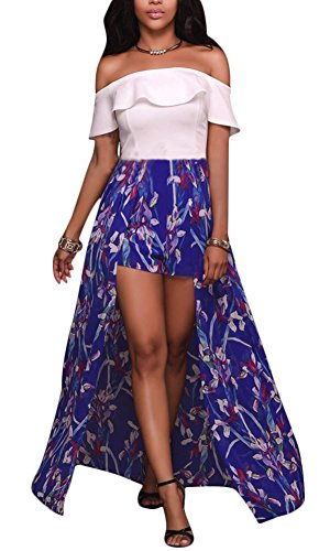 Luluka Women's Off Shoulder Print Patchwork Maxi Skirt Overlay Romper Dress