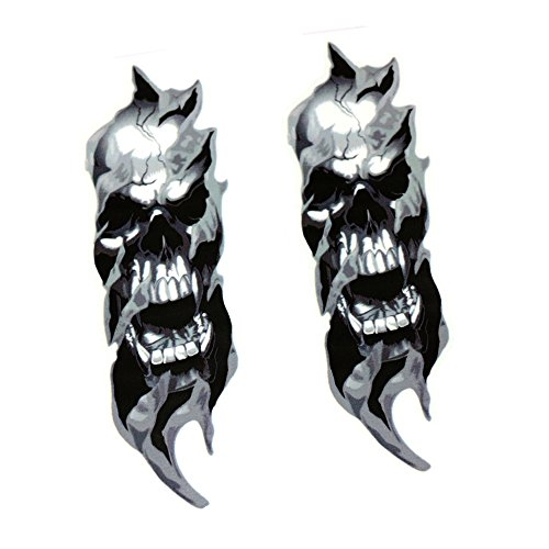 Motorcycle Skull Decals SKULL DECAL GRAPHIC for Yamaha Harley Suzuki Honda MOTORCYCLE FORKS ()