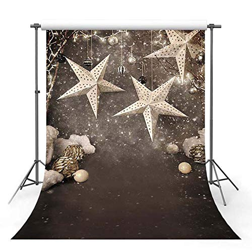 MEHOFOTO Christmas Stars Photo Studio Booth Backgrounds Props Winter Christmas Bells Xmas Children Backdrops for Photography 5x7ft